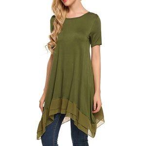 Tops - Chiffon Ruffle T Shirt Dress